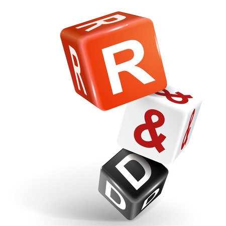 rd: vector 3d dice with word R and D research and development on white background