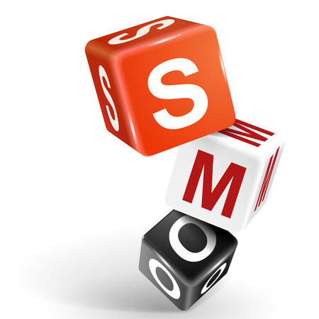 smo: vector 3d dice with word SMO social media optimization on white background