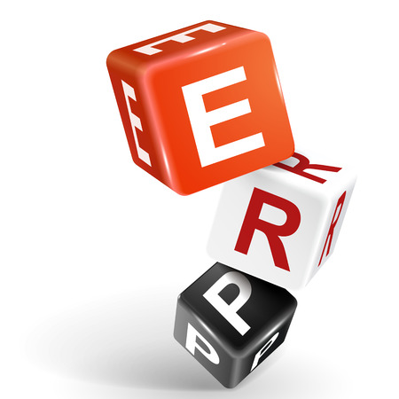 vector 3d dice with word ERP Enterprise Resource Planning on white background Vector