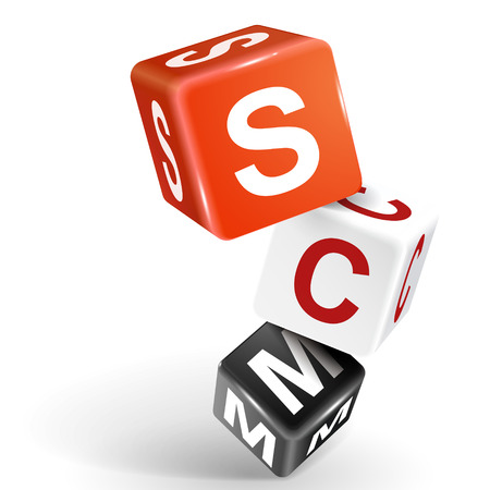 scm: vector 3d dice with word SCM supply chain management on white background