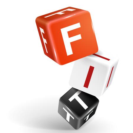 fit: vectoriales 3d dados con palabra FIT en el fondo blanco