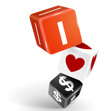 vector 3d dice with word I love dollars on white background Vector