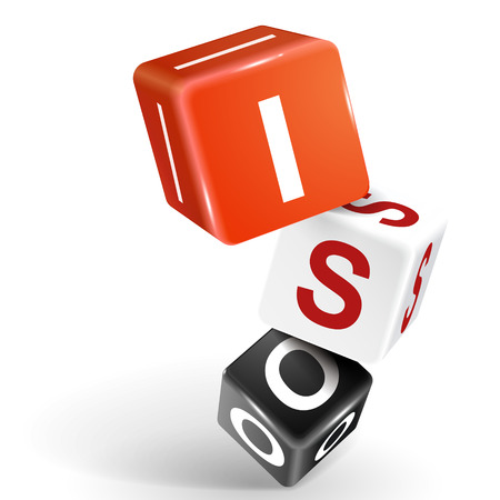 iso: vector 3d dice with word ISO on white background Illustration