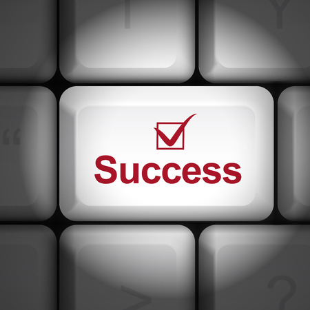 key to success: message on keyboard enter key, for success concepts