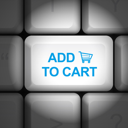 add to cart: message on keyboard enter key, for online shopping concepts