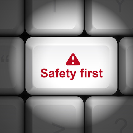 enter key: message on keyboard enter key, for safety first concepts