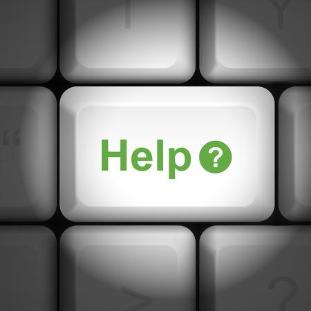 enter key: message on keyboard enter key, for help concepts Illustration