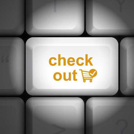 checkout button: message on keyboard enter key, for check out concepts