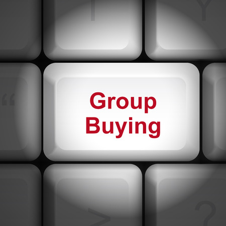 enter key: message on keyboard enter key, for group buying concepts Illustration