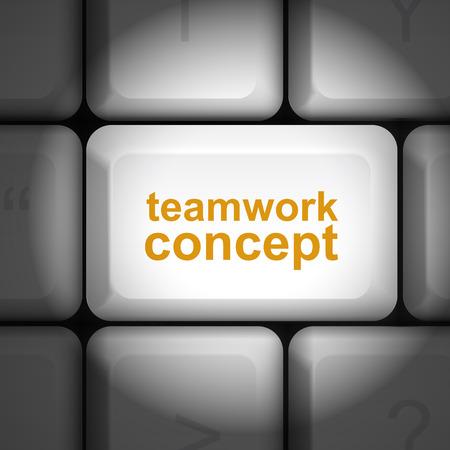 enter key: message on keyboard enter key, for teamwork concepts Illustration