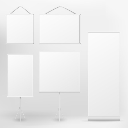 tidings: vector blank roll up banner and placard on white background