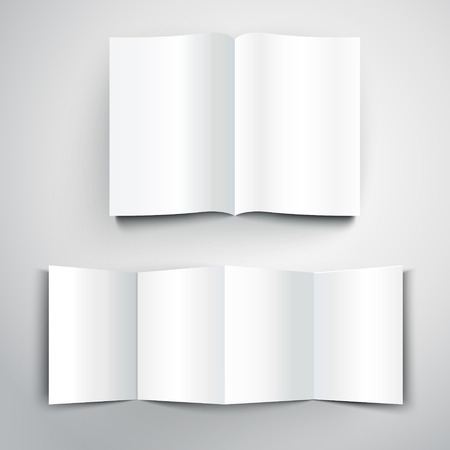dossier: blank folded flyer with soft shadow isolated on white background