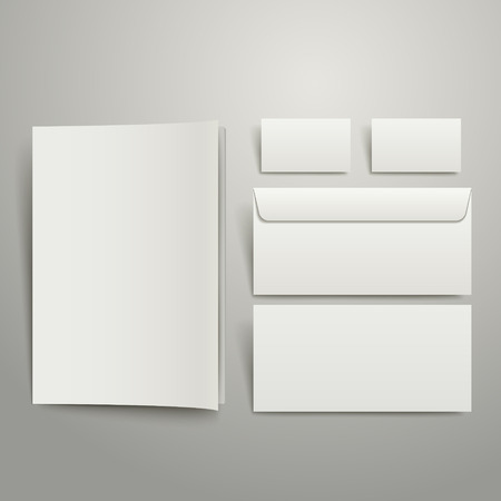 workpiece: white style of blank envelopes business card and folder isolated on gray
