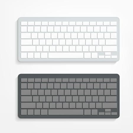 벡터 흰색 배경에 빈 컴퓨터 키보드