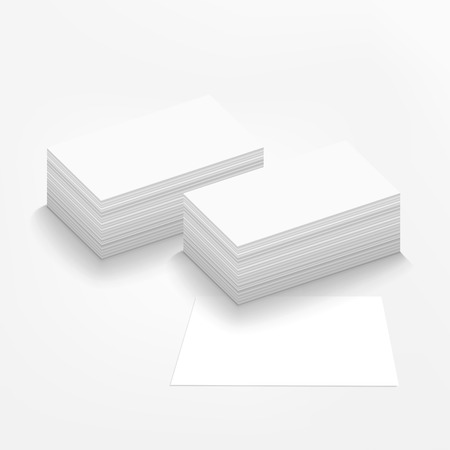 pile of papers: vector blank business card on white background Illustration