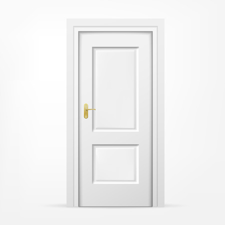 door handles: vector blank 3d door on white background Illustration