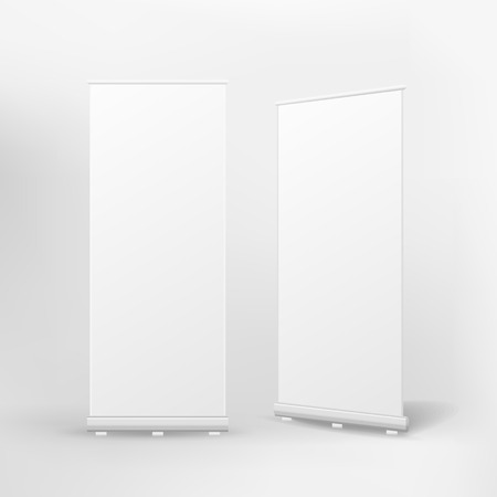 up: vector blank roll up banner on white background