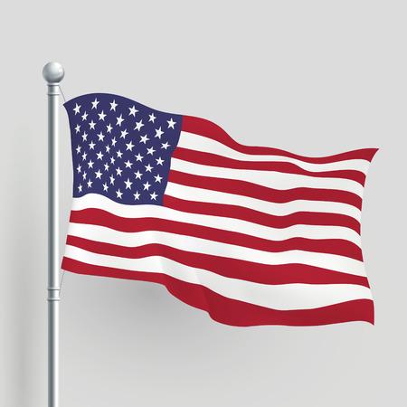 바람에 3 차원 벡터 미국 국기 불고