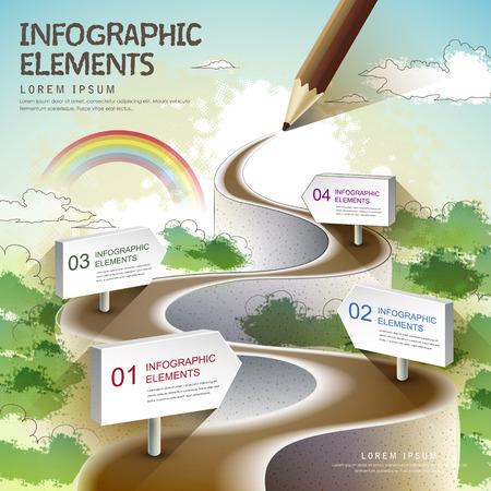 インフォ グラフィック、バナー、概念ベクトル図の色えんぴつ画自然道とクリエイティブ テンプレートを使用できます。  イラスト・ベクター素材