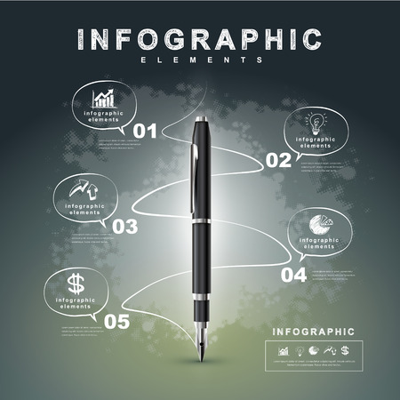 インフォ グラフィック、バナー、概念ベクトル図の万年筆の技術領域での情報を書くと創造的なフロー チャートを使用できます。  イラスト・ベクター素材