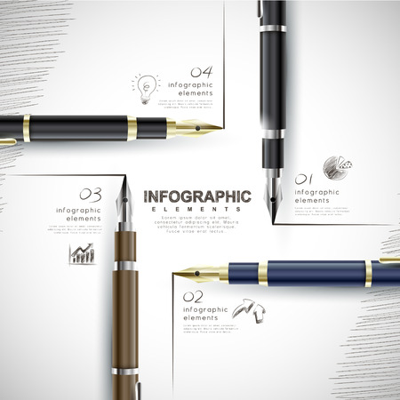 creative template with fountain pen writing information, can be used for infographics and banners, business concept vector illustration Ilustracja
