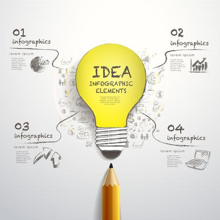 연필과 손을 그리기 종이 컷 전구 크리 에이 티브 템플릿, 인포 그래픽 및 배너, 아이디어 개념 벡터 일러스트 레이 션에 사용할 수 있습니다