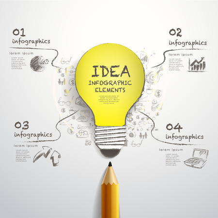 pencil and paper: creative template with pencil and hand-draw paper-cut bulb, can be used for infographics and banners, idea concept vector illustration