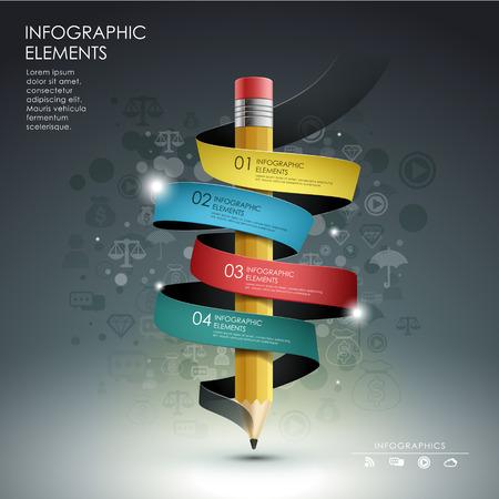 インフォ グラフィック、バナー、概念ベクトル イラストに鉛筆リボン バナー フロー チャート、クリエイティブ テンプレートを使用できます。