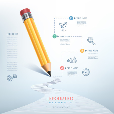 pencil set: creative infographics template with pencil, puzzle and education icons. abstract infographic design minimal style. graphic or website layout vector.