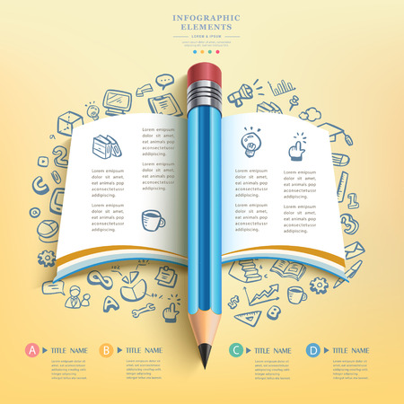 pencil writing: creative infographics template with pencil, puzzle and education icons. abstract infographic design minimal style. graphic or website layout vector.
