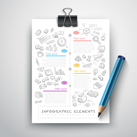 pencil: creative infographics template with pencil, puzzle and education icons. abstract infographic design minimal style. graphic or website layout vector.