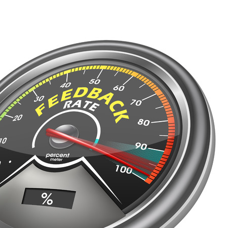 feedback rate meter indicate hundred percent, isolated on white background