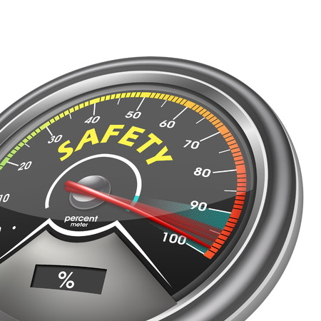 safety concept meter hundred percent isolated on white background Vector