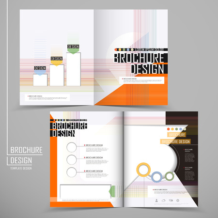half fold modern business template of brochure design Vector