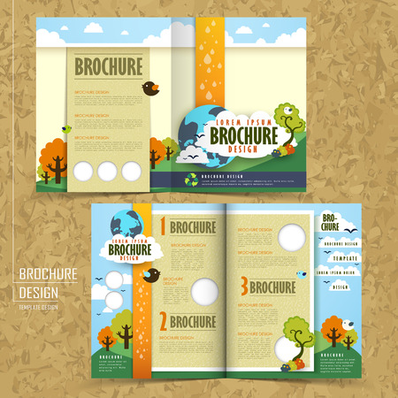 brochure template: half fold template of brochure design with the concept of environmental
