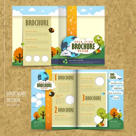 plantilla: plantilla media veces mayor de diseño de folletos con el concepto de medio ambiente Vectores