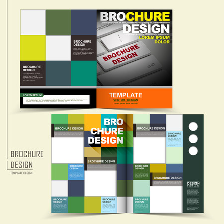 template of brochure design with keyboard and squares Vector