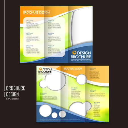 template of business brochure design with spread pages Ilustração