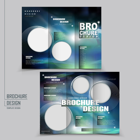 modern tri-fold template of brochure design with technology style Vector