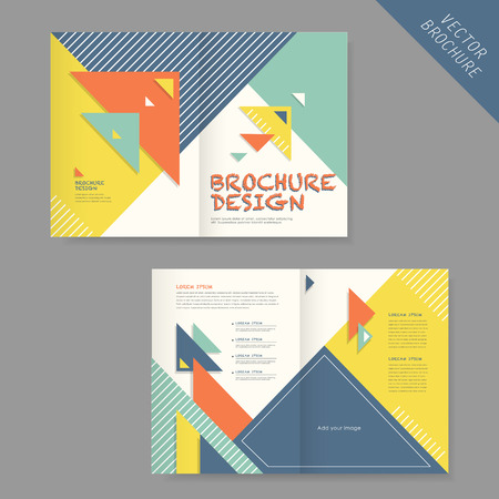 brochure layout: geometry brochure design element, collage and triangle