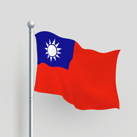 taiwanese: 3d Taiwan flag blowing in a breeze