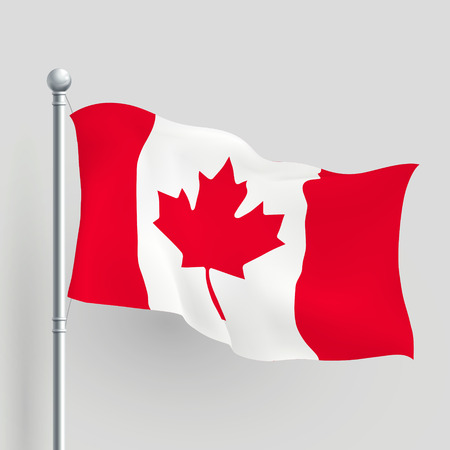 canadian flag: 3d Canada flag blowing in a breeze