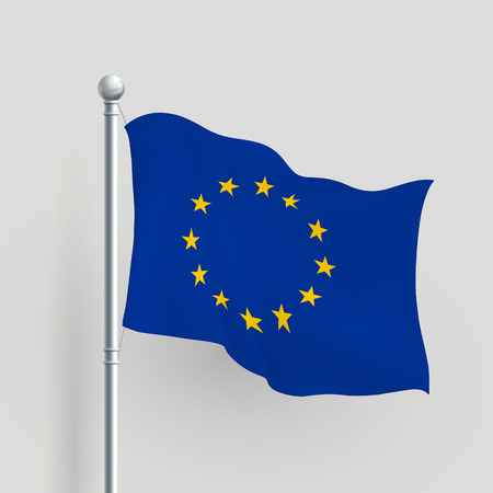 3d Europe flag blowing in a breeze Vector