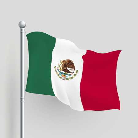 flagpole: 3d Mexico flag blowing in a breeze Illustration