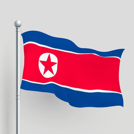 flagstaff: 3d North Korea flag blowing in a breeze