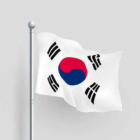 флагшток: 3d Южная Корея флаг дует в ветер