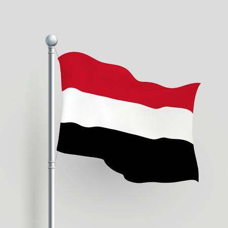 flagstaff: 3d Yemen flag blowing in a breeze Illustration