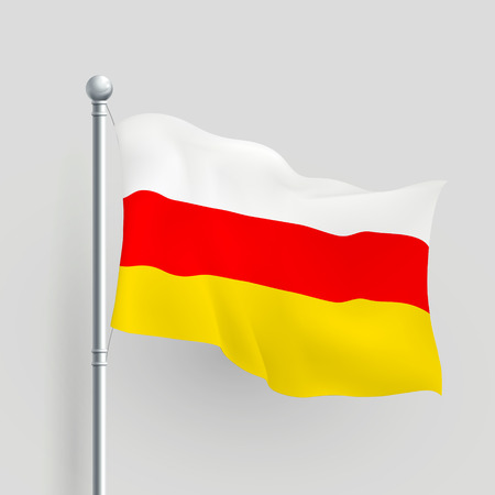 flagpole: 3d the Republic of South Ossetia flag blowing in a breeze Illustration