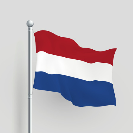flagpole: 3d Dutch flag blowing in a breeze