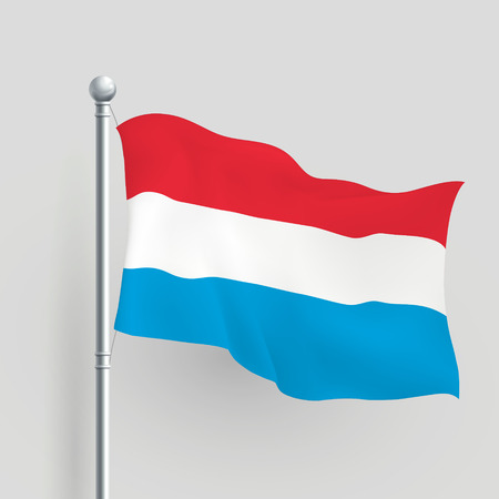 flagstaff: 3d Luxembourg flag blowing in a breeze